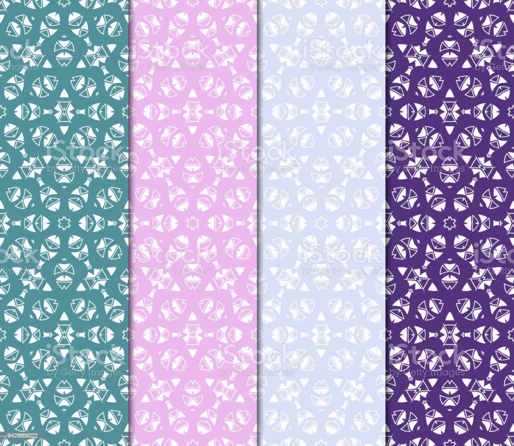 Satz Von Farbe Dekorative Florale Jugendstil Ornament. Moderne Muster. Für  Design, Textil,