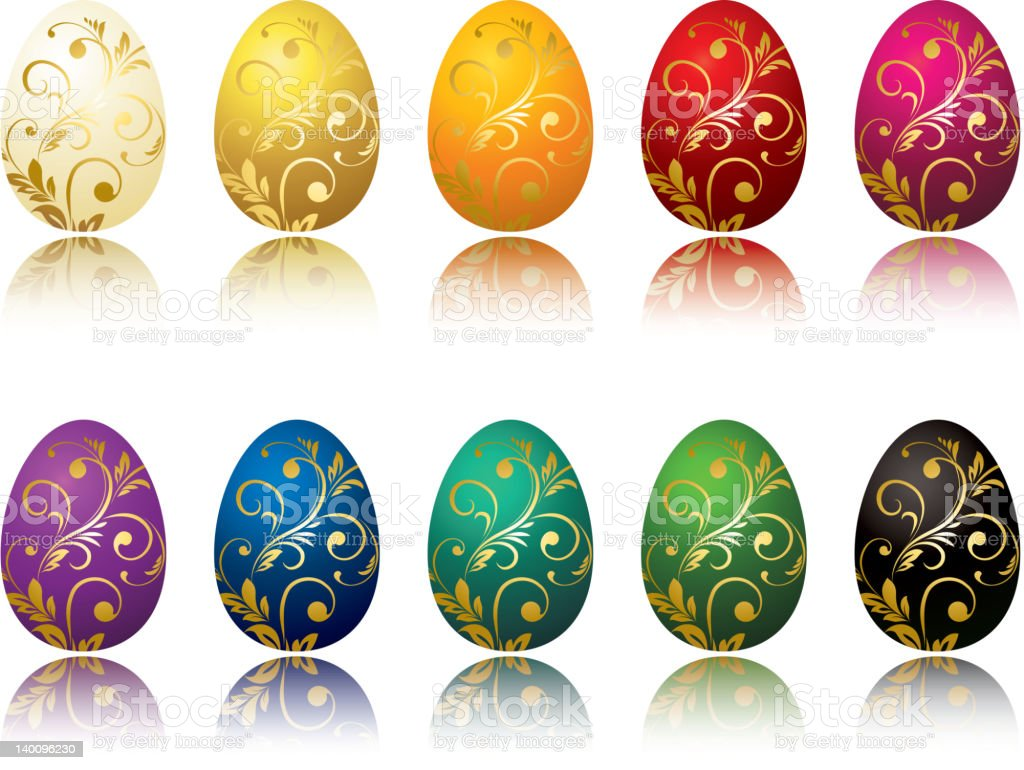 set of color Easter egg royalty-free stock vector art