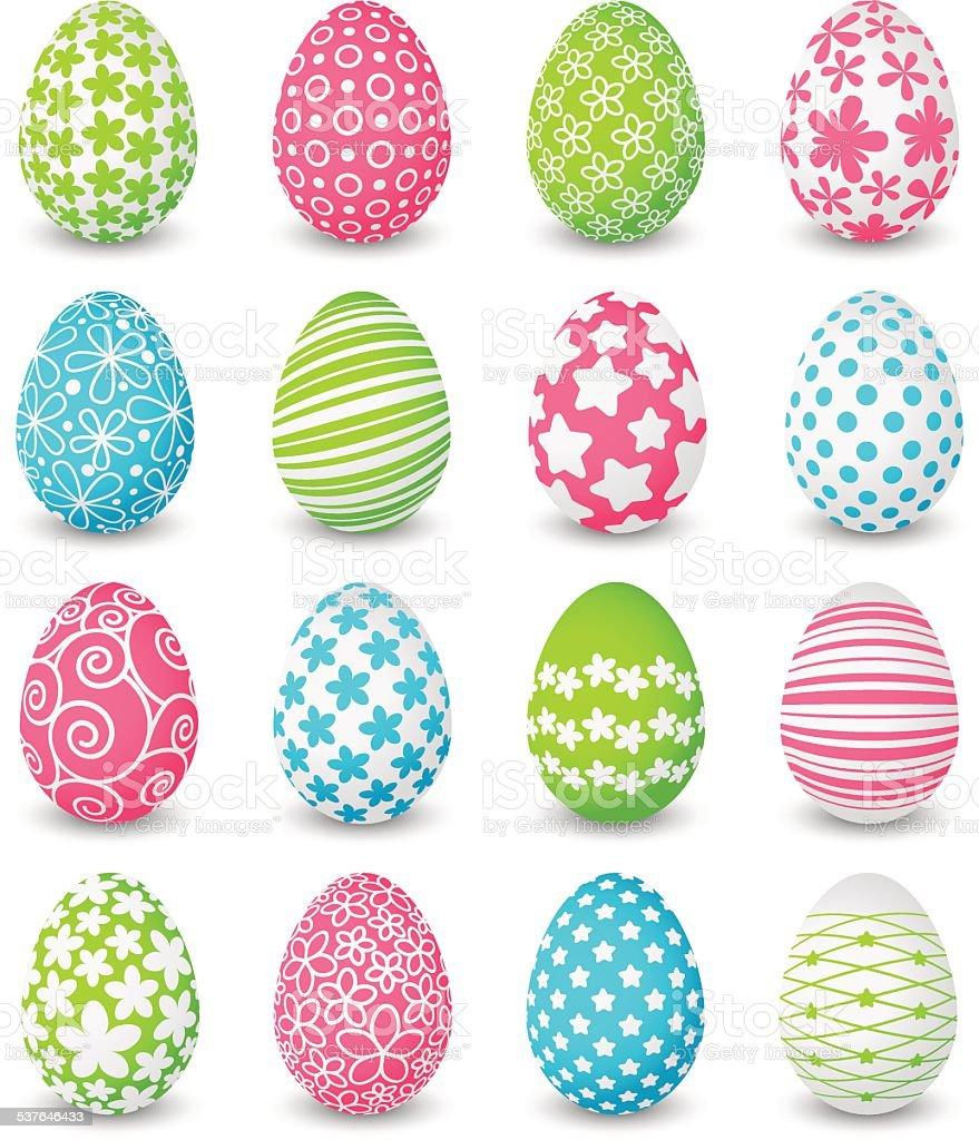 Set of color Easter eggs vector art illustration