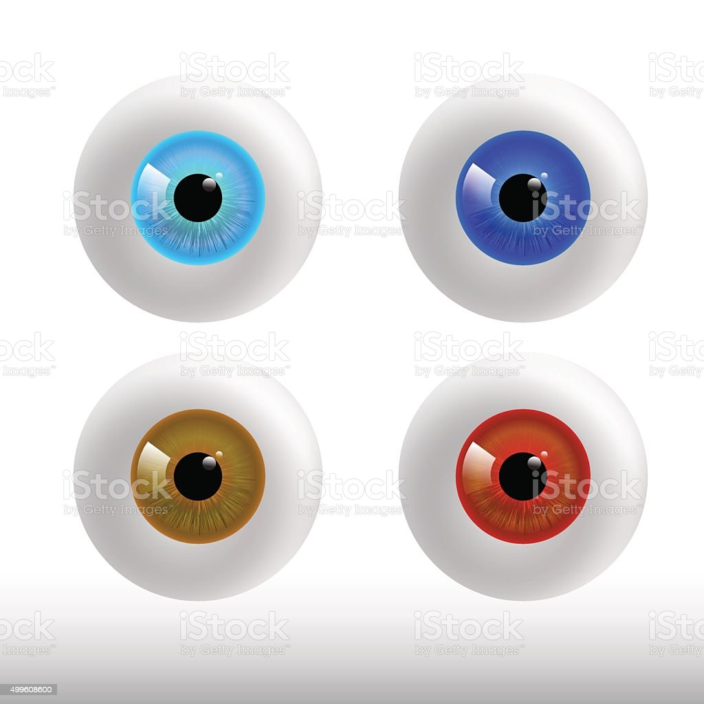 set of color eyeball on white background vector art illustration
