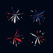 set of color firework style splash point label for design