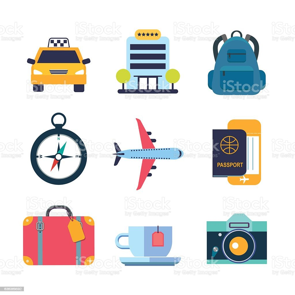 set of color flat icons for travel vector art illustration