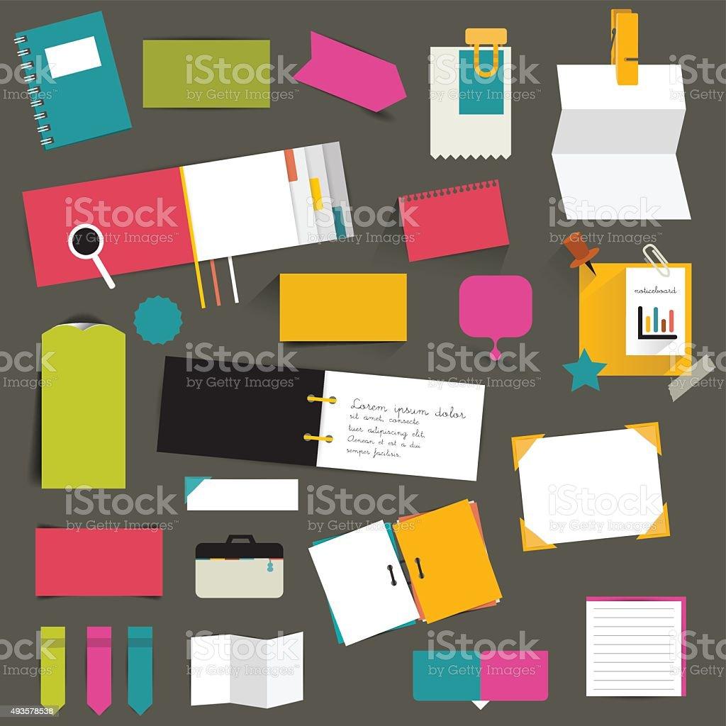 Set of color flat reminder stickers. Infographic set. vector art illustration