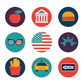 set of color flat vector icons of New York city