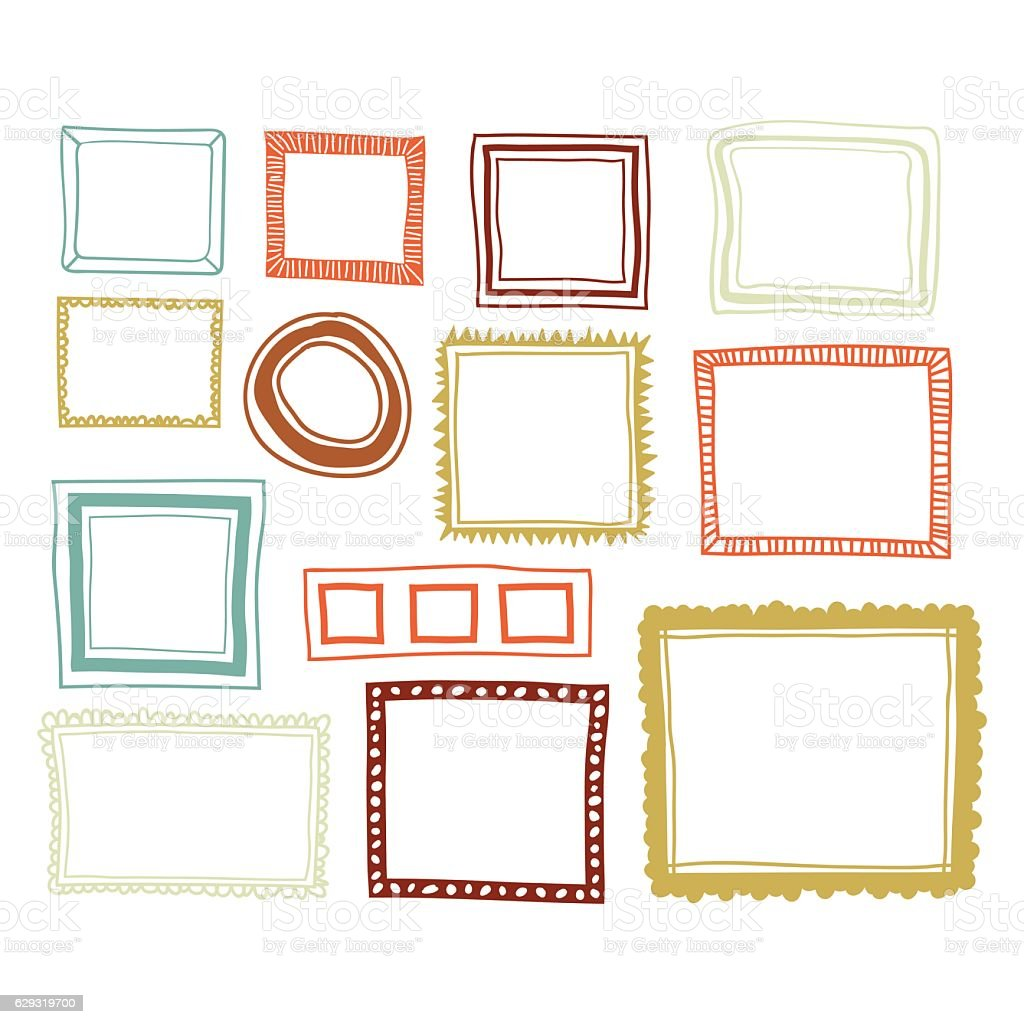 Set of color frames vector art illustration