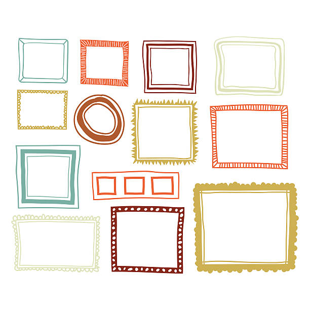illustrations, cliparts, dessins animés et icônes de set of color frames - bordures pour cadres photo