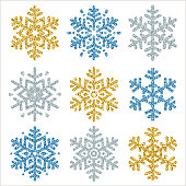 Set of color glittering snowflakes  over white backgrounds, vector illustration
