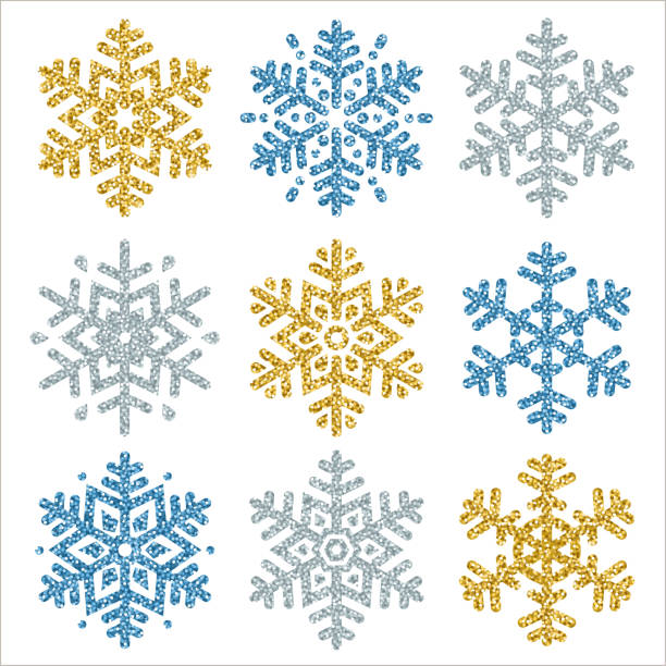 set of color glittering snowflakes  over white backgrounds, vector illustration - blue clipart stock illustrations