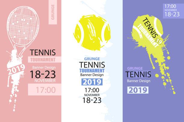 stockillustraties, clipart, cartoons en iconen met set kleur grunge-ontwerpen van banners voor tennis. schets tennisracket, vuile bal, hand tekenen. sjabloon voor folder met verticale sport. abstracte achtergrond. - tennis
