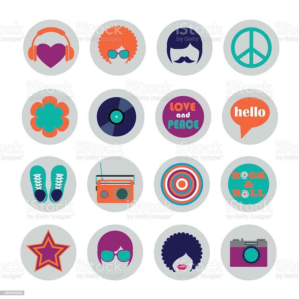 set of color hippie flat icons vector art illustration