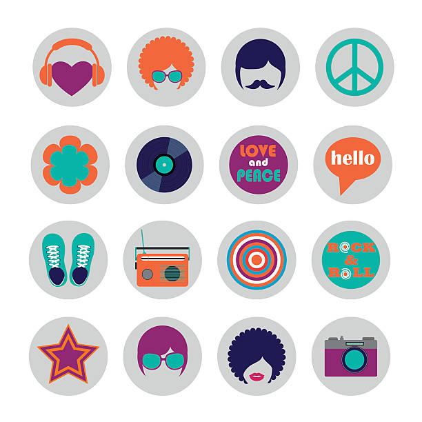 ilustrações de stock, clip art, desenhos animados e ícones de conjunto de ícones de hippie de cores plana - viagens anos 70