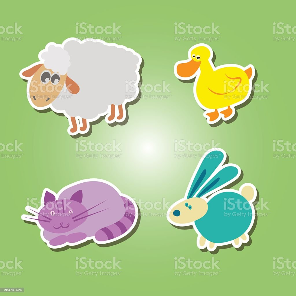 Set Of Color Icons With Domestic Animal Kids Drawing Stock ...