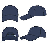 Set of color illustrations with a blue denim baseball cap. Isolated vector objects on white background.