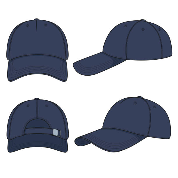 Set of color illustrations with a blue denim baseball cap. Isolated vector objects. Set of color illustrations with a blue denim baseball cap. Isolated vector objects on white background. uniform cap stock illustrations
