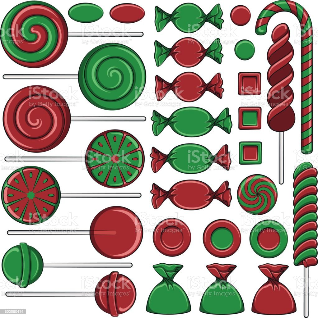 Set Of Color Illustrations With Christmas Red And Green Sweets ...