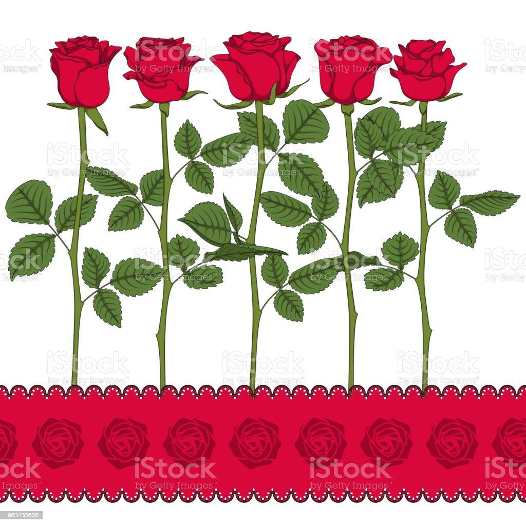 Ensemble d'illustrations en couleur avec des roses rouges. Isolé des objets vectoriels. - clipart vectoriel de Arbre en fleurs libre de droits