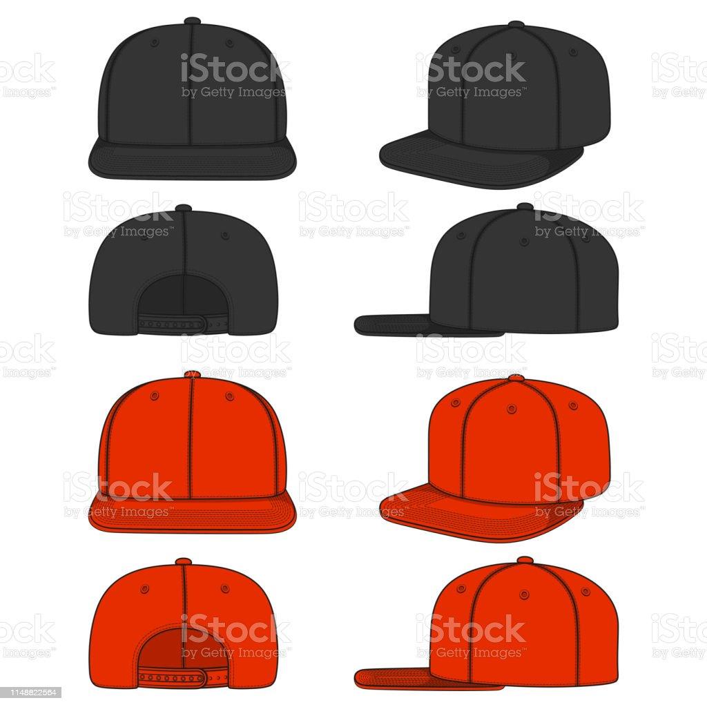 Set van kleurenbeelden van een rapper Cap met een platte vizier, SnapBack. Geïsoleerde vectorobjecten. - Royalty-free Baseballpet vectorkunst