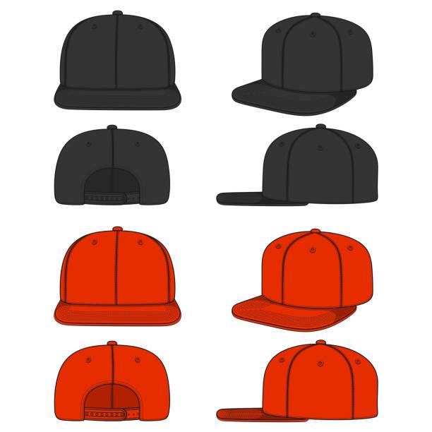 stockillustraties, clipart, cartoons en iconen met set van kleurenbeelden van een rapper cap met een platte vizier, snapback. geïsoleerde vectorobjecten. - flat cap