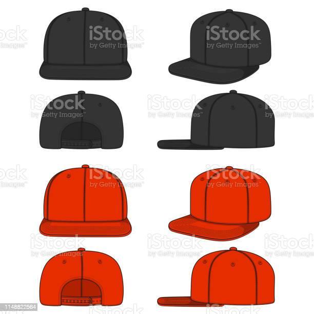 Set Van Kleurenbeelden Van Een Rapper Cap Met Een Platte Vizier Snapback Geïsoleerde Vectorobjecten Stockvectorkunst en meer beelden van Baseballpet