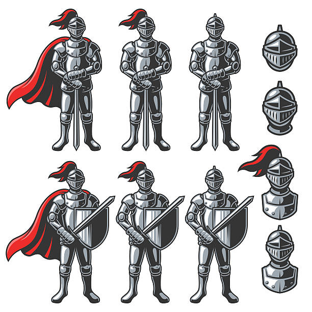 set of color knights - knight in shining armor stock illustrations, clip art, cartoons, & icons