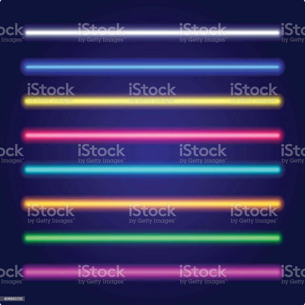 Set of color laser beams. Neon tube light. Vector. royalty-free set of color laser beams neon tube light vector stock illustration - download image now