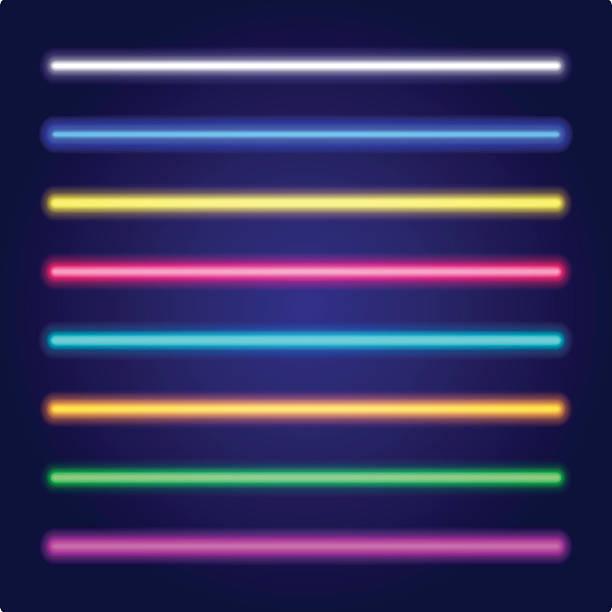 Set of color laser beams. Neon tube light. Vector. – Vektorgrafik