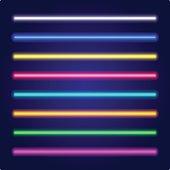 Set of color laser beams. Neon tube light. Vector.