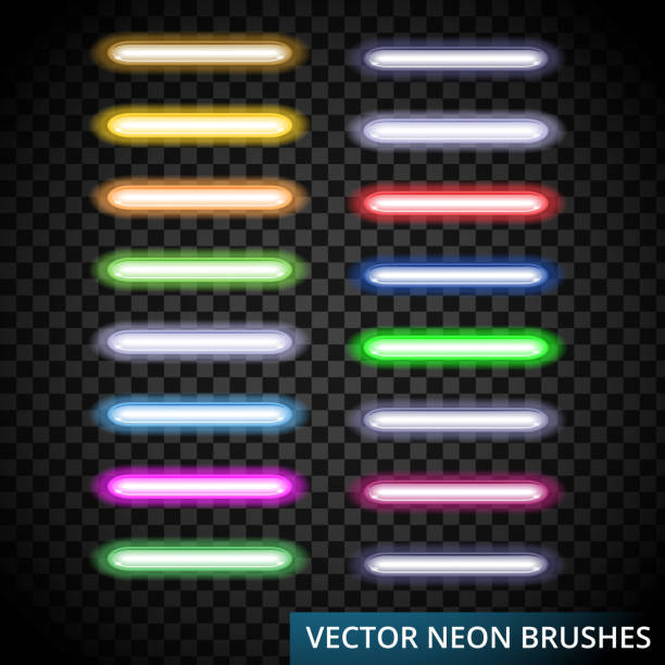 Set of color laser brushes you can creat neon line for your desing, include brushes in artwork Set of color laser brushes you can creat neon line for your desing, include brushes in artwork background,Vector illustration, eps 10. nu stock illustrations