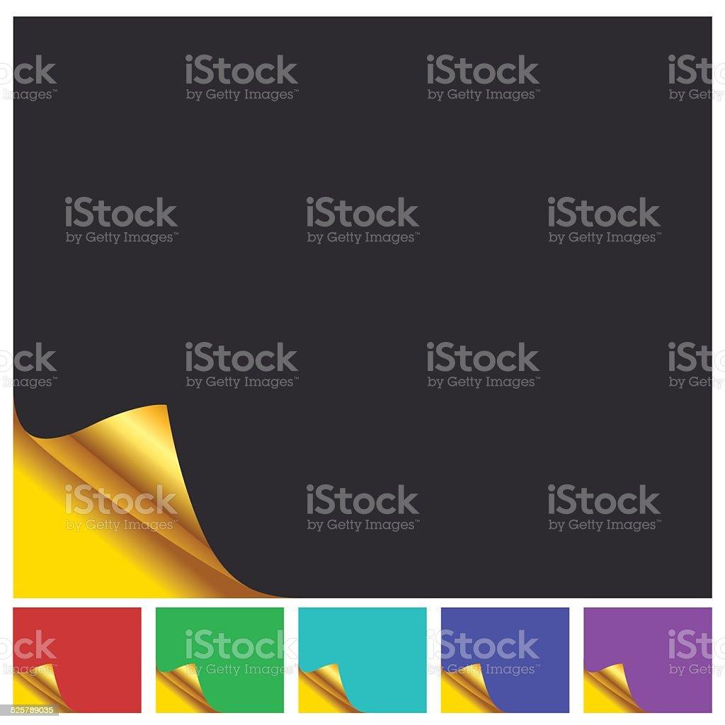 Set Of Color Page With Golden Corner vector art illustration