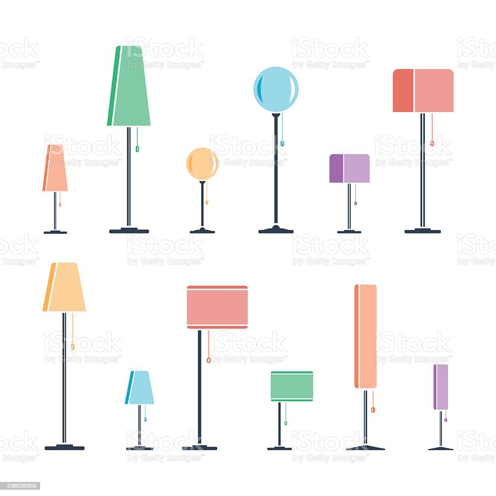 Set of color silhouettes of lamps vector art illustration