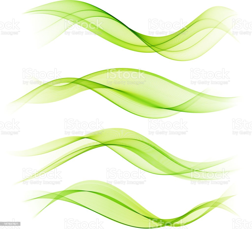 Set of color smoke wave royalty-free stock vector art