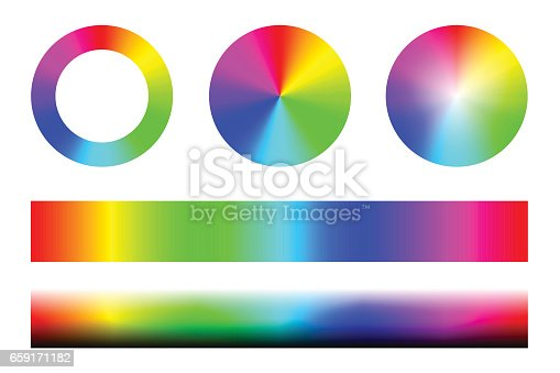 istock Set of color spectra RGB, wheel circles and stripes. Vector 659171182