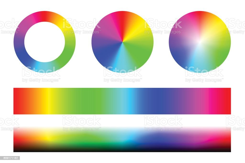 Set of color spectra RGB, wheel circles and stripes. Vector vector art illustration