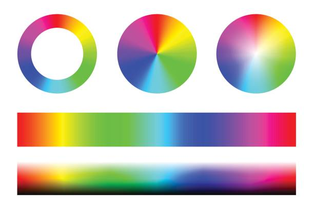 set of color spectra rgb, wheel circles and stripes. vector - насыщенный цвет stock illustrations