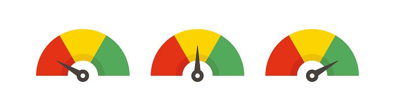 Set of color speedometer. Flat icon speedo. Speedometer symbol web icon. Vector illustration