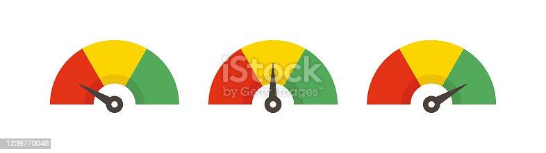 istock Set of color speedometer. Flat icon speedo. Speedometer symbol web icon. Vector 1239770046