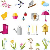 Spring flowers, weather, gardening and holiday icons.