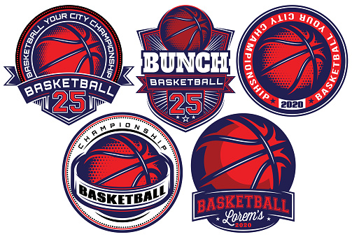 Set of color templates on the theme of basketball. Vector editable illustration. Elements for business card design, style, website, print on a t-shirt