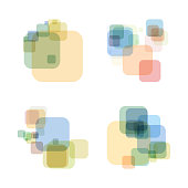 set of color transparency geometric check pattern icon