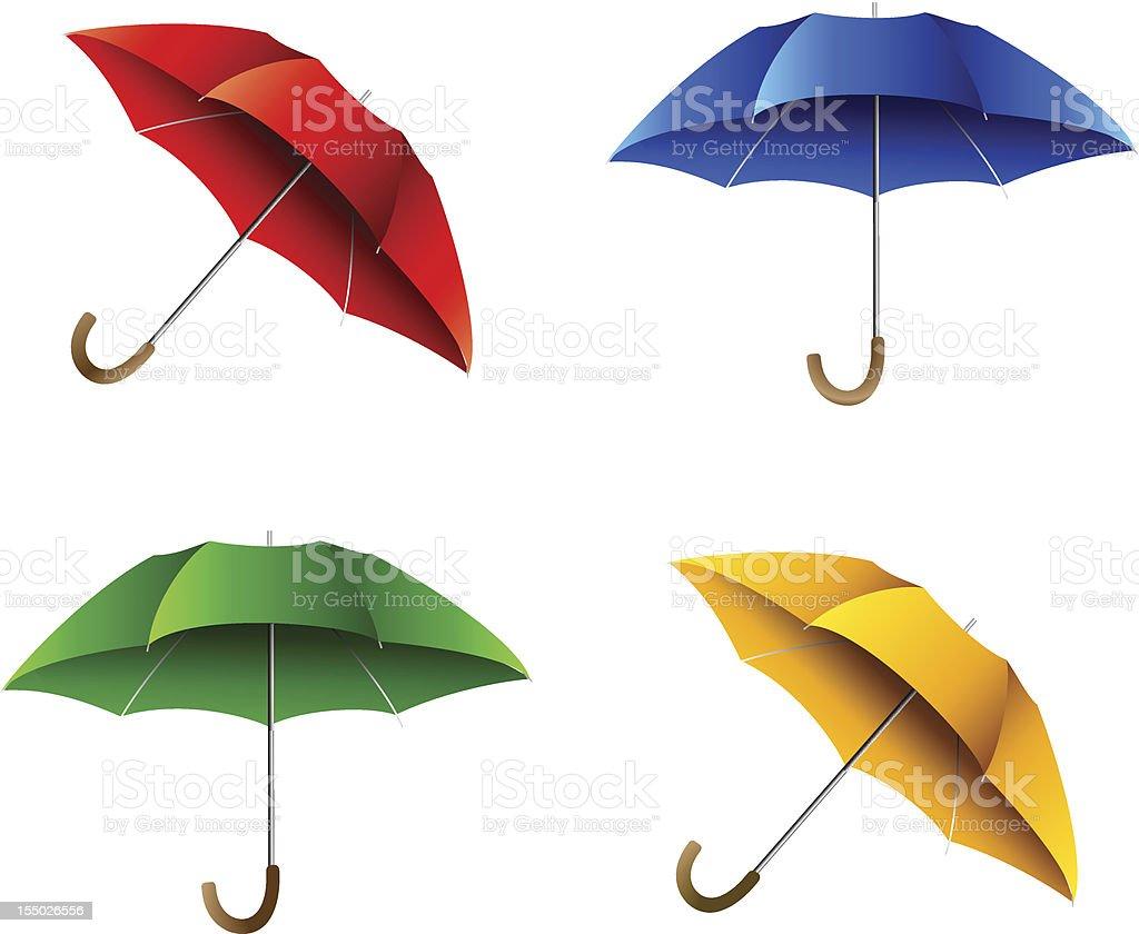 Set of color umbrella vector art illustration