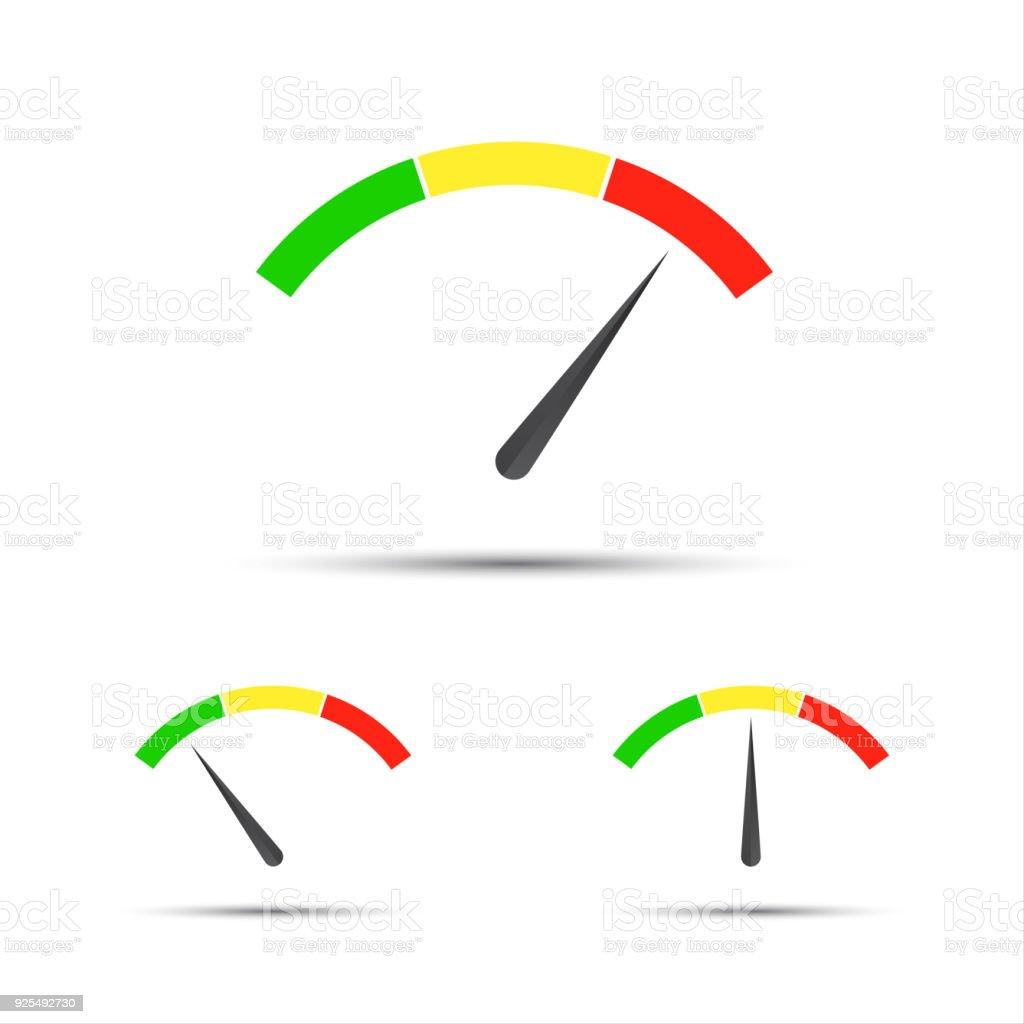 Satz Von Farbe Vektor Tachometer Durchflussmesser Mit Anzeige In ...