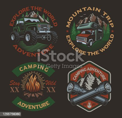 Set of color vintage badges for the camping theme on the dark background.