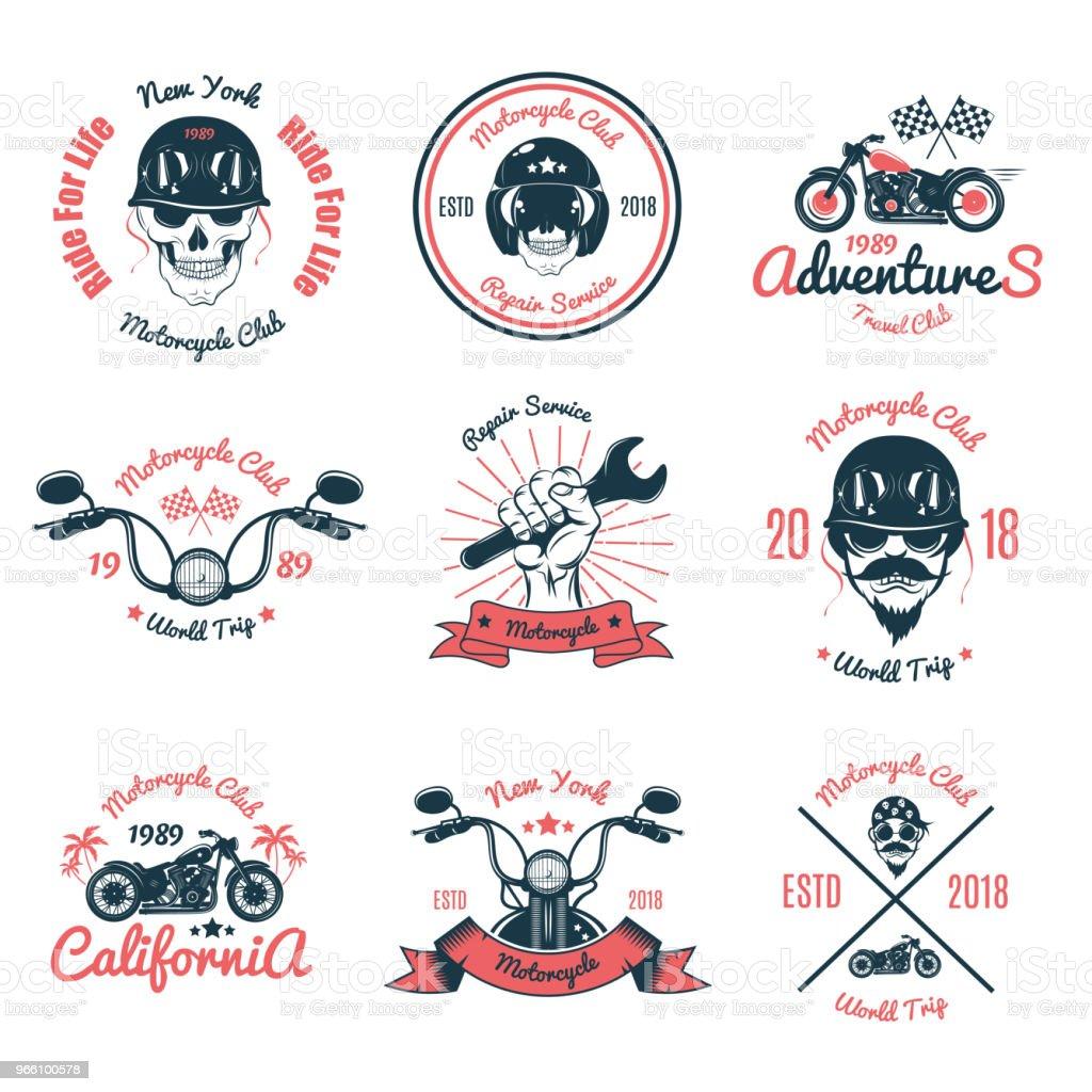 Uppsättning färg Vintage motorcykel Emblem.Vector illustration - Royaltyfri Design vektorgrafik
