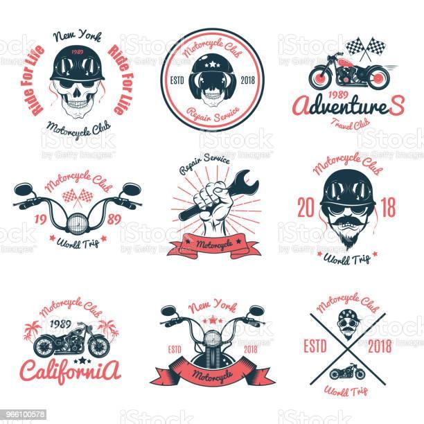 Uppsättning Färg Vintage Motorcykel Emblemvector Illustration-vektorgrafik och fler bilder på Design