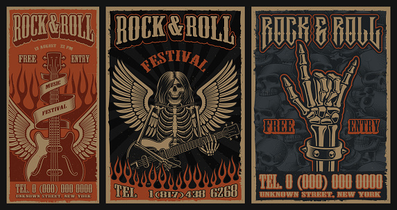 Set of color vintage posters on the theme of rock and roll