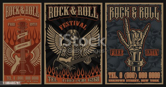 Set of color vintage posters on the theme of rock and roll with skeleton character, guitar and wings.
