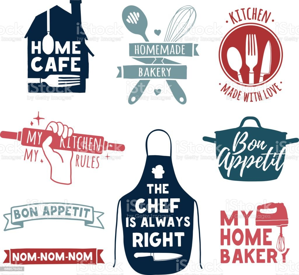 Set of color vintage retro handmade badges, labels and icon elements, retro symbols for bakery shop, cooking club, cafe, food studio or home cooking. Template icon with silhouette cutlery. Vector. vector art illustration
