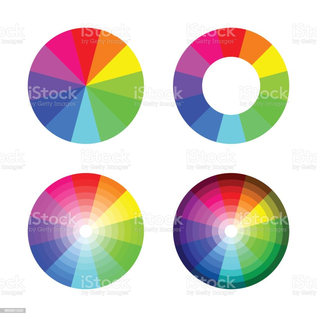 Set of color wheel 12 color rgb on white background vector art illustration
