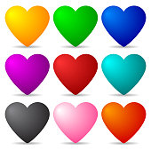 Set of Colored 3d Hearts isolated on white background for Design, Game, Card. Vector Illustration.