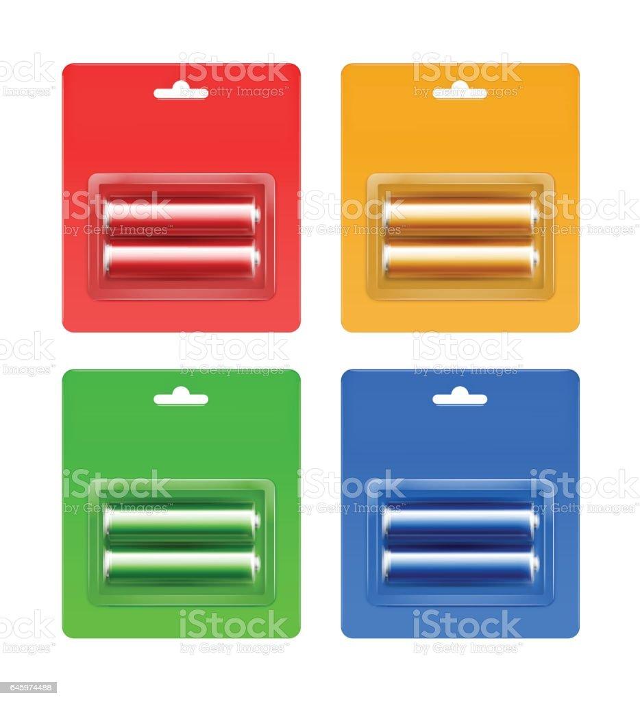 Set of colored Alkaline AA Batteries in Blister vector art illustration